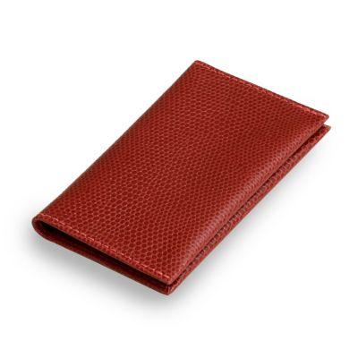 laeder-couro - Porta-cartões em couro vermelho.
