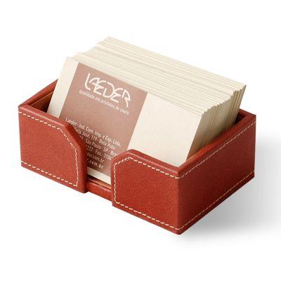 Porta-cartões de mesa em couro telha.
