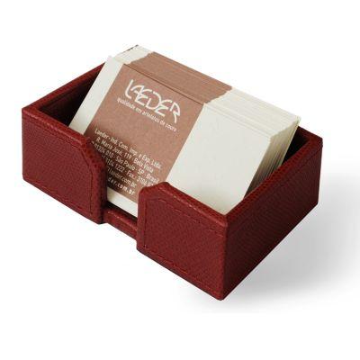 laeder-couro - Porta-cartões de mesa em couro vermelho.