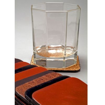 Porta-copos em couro com costura opcional.