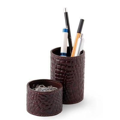 Conjunto de porta-lápis e clipes redondo em couro. - Laeder | Couro
