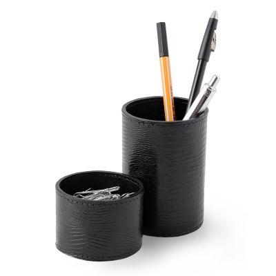Conjunto de porta-lápis e clipes redondo em couro - Laeder | Couro