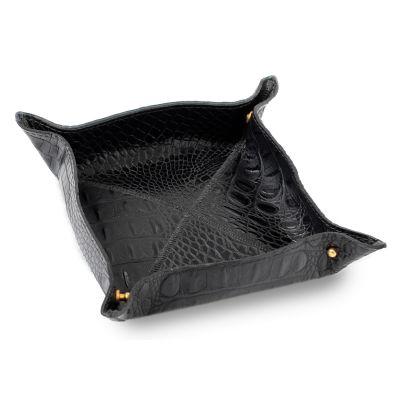 laeder-couro - Porta-treco em couro croco preto, organizador funcional e decorativo para guardar objetos