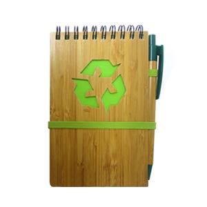 Brindes Ponto A - Bloco de notas ecológico com caneta de bambu.