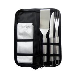 Brindes Ponto A - Kit churrasco com 4 peças e estojo de nylon.