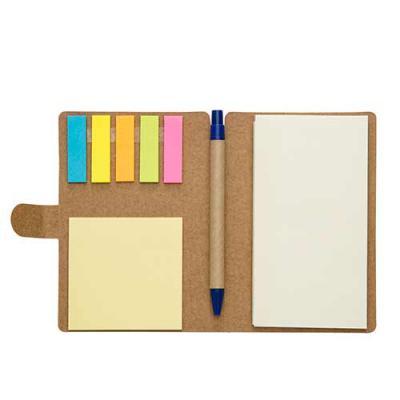 Bloco de anotações com sticky notes e caneta ecológica - Qualy Brindes