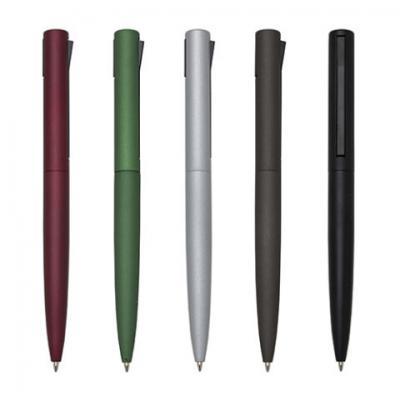 qualy-brindes - Caneta metálica, corpo colorido fosco, clic na lateral, gravação a laser ou em Tampografia.
