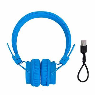 Head phone wireless com entradas P2 e USB, função rádio, microfone para atender chamadas, wireless com alcance de 10m. - Qualy Brindes