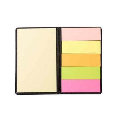 Brindes Qualy - Bloco de anotações com sticky notes em couro sintético.