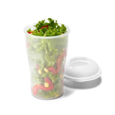 Copo para salada. PP. Com garfo e molheira. Capacidade: 850 ml. Food grade. Caixa branca 94659 vendida opcionalmente. ø110 x 190 mm - Brindes Qualy