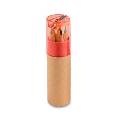Caixa de cartão com 6 mini lápis de cor. Cartão e plástico. Com apontador. ø26 x 103 mm - Brindes Qualy