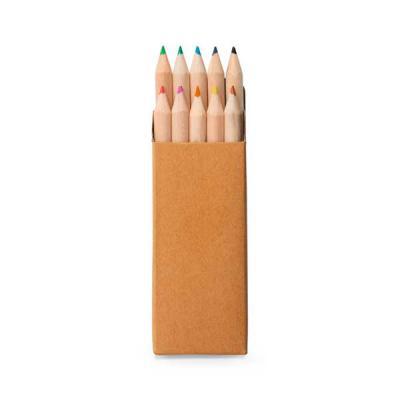 Caixa de cartão com 10 mini lápis de cor. Cartão. 40 x 90 x 15 mm - Brindes Qualy