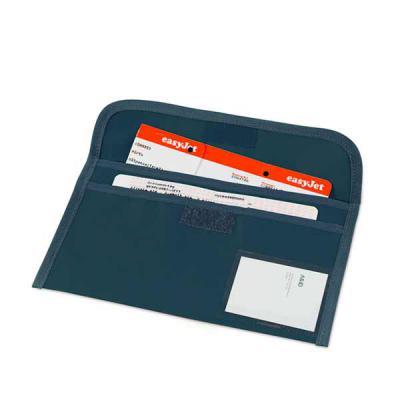 Bolsa porta documentos de viagem. 600D. 2 compartimentos interiores. Janela para identificação. 275 x 140 mm - Qualy Brindes