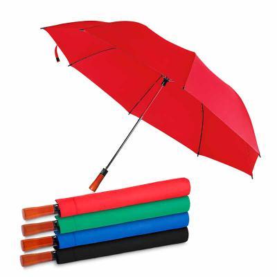 qualy-brindes - Guarda-chuva com Cabo de madeira e haste de metal + capa protetora, botão acionador para abertura automática, tecido ponge chinês, seda crua poliéster...