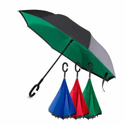 Qualy Brindes - Guarda-chuva invertido com cabo plástico e haste de metal, botão acionador para abertura automática, tecido ponge chinês, seda crua poliéster, oito va...