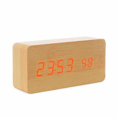 Relógio de Madeira com Display LED - Brindes Qualy