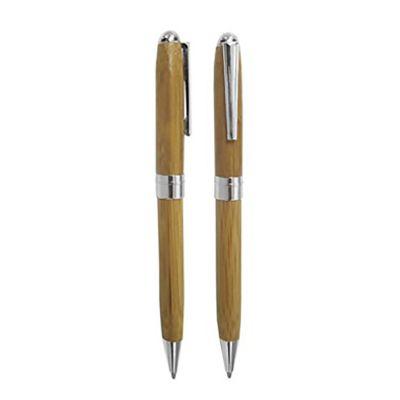 Qualy Brindes - Caneta metálica bambu