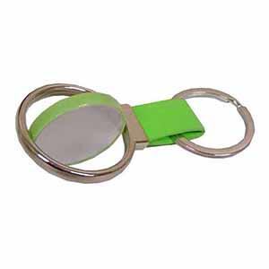 Qualy Brindes - Chaveiro em metal inox e couro colorido