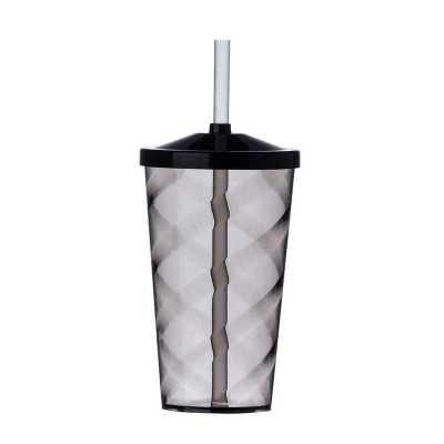 - Copo de acrílico 550ml com canudo e detalhe espiral, copo inteiro colorido e canudo transparente.  Medidas aproximadas para gravação (CxL):  12 cm x 6...