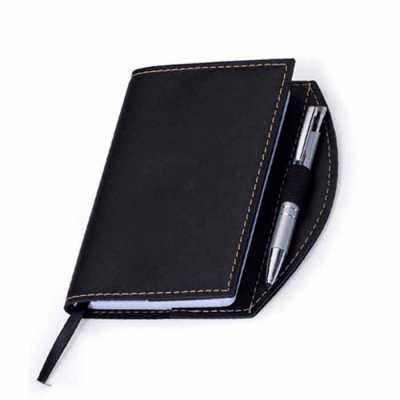 Caderneta Bidins em couro sintético com caneta - Toca dos Brindes