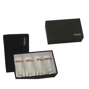 Conjunto personalizado de copos - Caixa em papelão rígido, personalizada, contendo 04 copos para chopp personalizados. - Donare Presentes