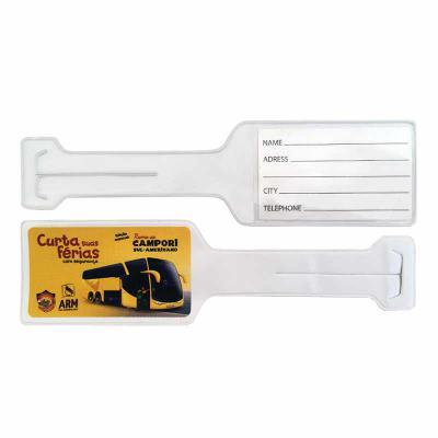 PVChic - Tag de mala, modelo garrafa, fabricado no processo de costura eletrônica (solda eletrônica). Mede 6 x 22,5 cm e é confeccionado em laminado de PVC gra...