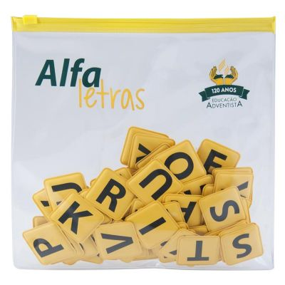 Sobplast - Kit Alfabeto. Composto de uma pasta zip e 88 peças com letras impressas, sendo 5 conjuntos de 5 vogais e 3 conjuntos de 21 consoantes. Confeccionado n...