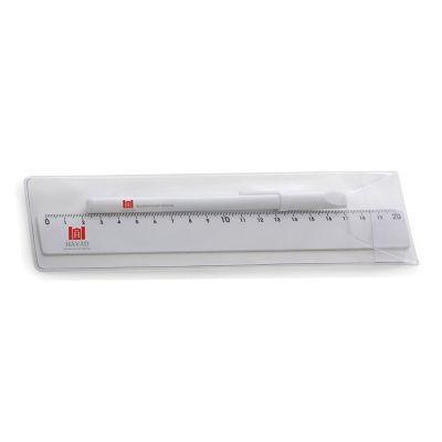 Cast Brindes - Kit régua e caneta plástica em estojo PVC transparente. Caneta simples com tampa e régua de 20cm. Tamanho total aproximado (CxD): Caneta 15,2 cm x 1,4...