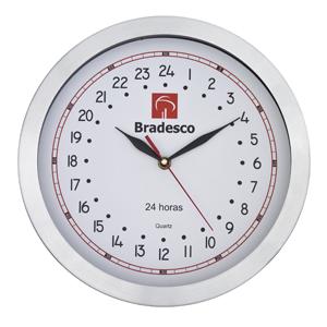 icones-relogios - Relógio 24 horas de confeccionado em metal escovado.