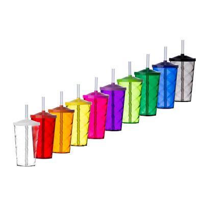 Store Gift - Copo plástico com tampa e canudo, capacidade de 550ml