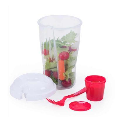 Copo plástico 800 ml para salada com recipiente para molho e garfo, plástico utilizado PS (Policarbonato). - Store Gift