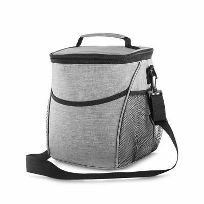 white-brindes - Bolsa térmica, capacidade 12 litros, tecido nylon poliéster (cinza), bolso frontal, dois bolsos laterais, alça de ombro ajustável, alça de mão, parte...