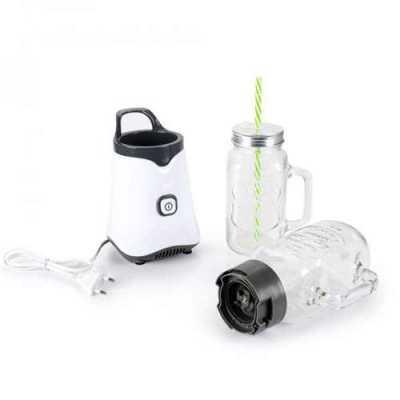 Liquidificador portátil com 320 Watts de potência. Acompanha duas canecas de vidro com tampa de rosquear em metal e canudo. Pode se personalizado em t... - Store Gift
