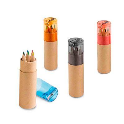 Line Brindes - Caixa com 6 mini lápis de cor