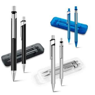 line-brindes - Conjunto de caneta e lapiseira em metal