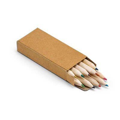 Caixa de cartão com 10 mini lápis de cor - Line Brindes