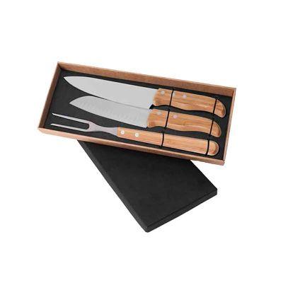 - Conjunto de Faca em Bambu/Aço Inox. Acompanha faca 8'', faca Santoku e garfo em Bambu/Inox. Rebites em Aço Inox 304