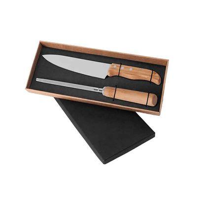 - Conjunto de Faca em Bambu/Aço Inox. Acompanha faca 8'' e chaira em Bambu/Inox. Rebites em Aço Inox 304 2 peças