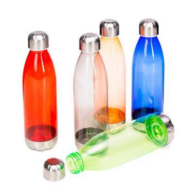 Squeeze plástico 700ml formato garrafa. Corpo transparente colorido, possui tampa e base em alumí...
