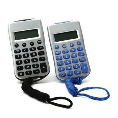line-brindes - Calculadora de plástico com cordão.