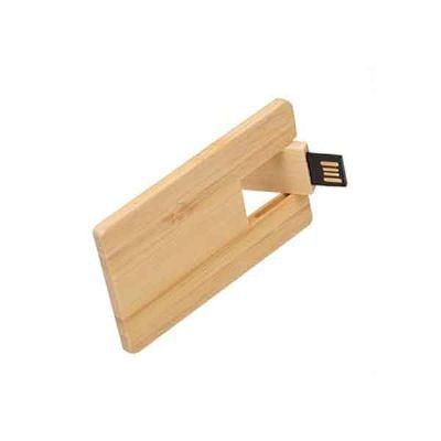 Line Brindes - Pen drive cartão de bambu