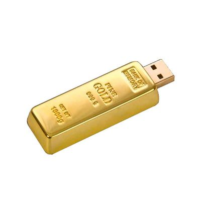 - Pen drive em formato de barra de ouro. Disponível nas capacidades 4, 8, 16 e 32 GB.