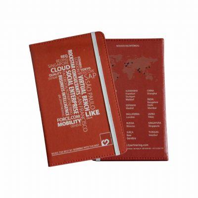 Selecta Promocional - Caderneta tipo moleskine com capa em couro sintético, impressão 4x0 cores e miolo com 96 Fls. Formato 14x21 cm. Personalize o miolo e seus opcionais....