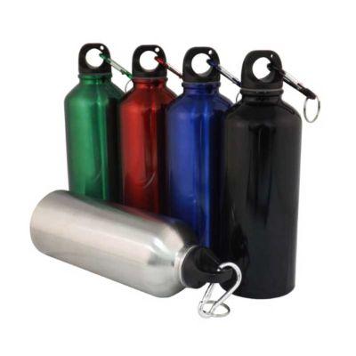 Selecta Promocional - Squeeze de inox com mosquetão. Capacidade para 500 ml.