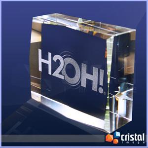 Bloco Personalizado em Cristal 100% transparente com gravação laser no interior da peça em 2D ou 3D. Pode ser gravado na posição horizontal ou vertica... - Cristal Image