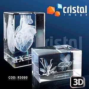 Bloco / Placa personalizada em Cristal 100% transparente, com gravação a laser 2D ou 3D no interior da peça. Frente inclinada como diferencial visual... - Cristal Image