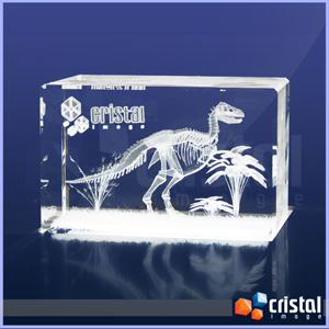 Bloco Personalizado em Cristal com gravação interna a laser. Pode ser gravado em 2D ou 3D, na posição horizontal ou vertical. Medidas: 60 X 60 X 90 mm... - Cristal Image