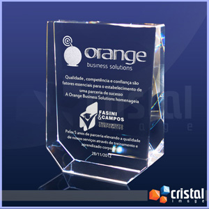 cristal-image - Bloco / Placa Personalizado em Cristal 100% transparente, com gravação a laser 2D ou 3D no interior da peça.
