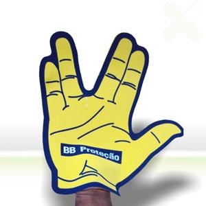 stamp-visual - Luva/Mão promocional para eventos com gravação personalizada.