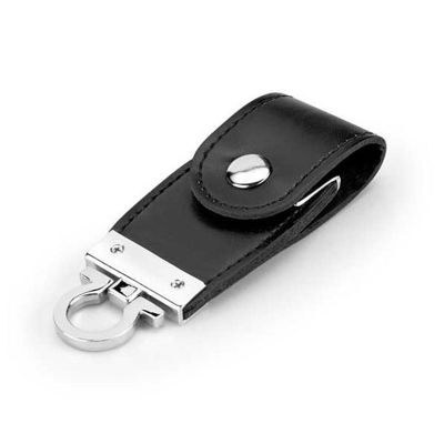 Promoaxis - Chaveiro pen drive em couro.